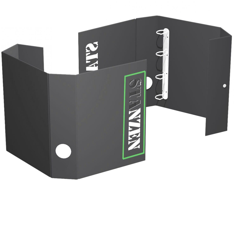 Ordnerbox aus brauner oder schwarzer Hartpappe  mit Siebdruck und Stanzung