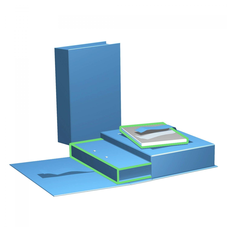 Buch-Box mit CD/DVD-Inlay und Schuberfach für Ordner, geschlossen