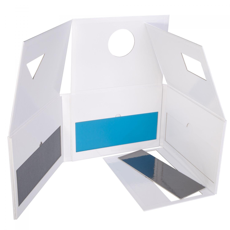 Präsentationsverpackung mit Konturstanzungen, fester Positionierung und Sichtfenster