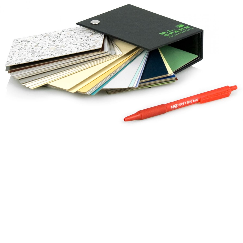 Musterfächer für Musterkollektionen , Decke mit Buchschraube