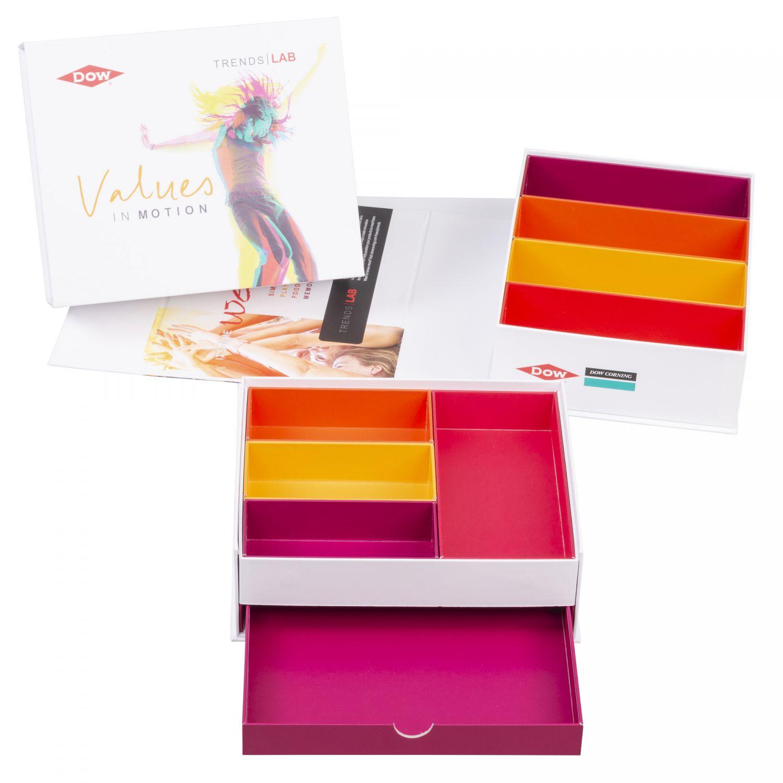 Verpackung mit 4 Produktfächern und 1 Schubladenfach