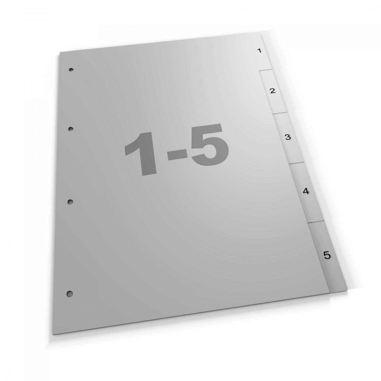 Standardregister 1-5, A4, grau oder weiß, Polypropylen (405 Za Eu)