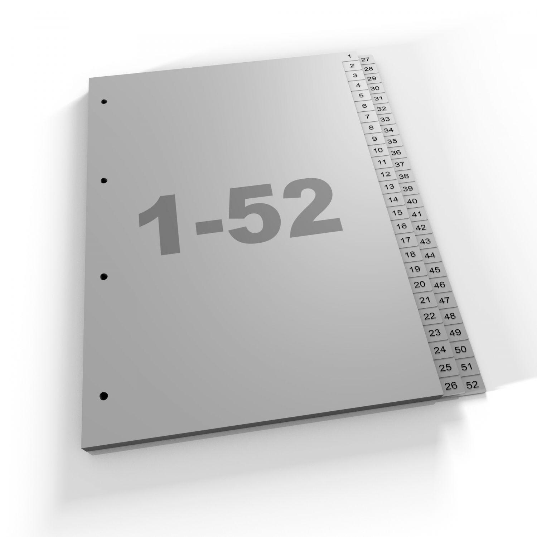 Register 1-52, 2Abläufe, A4, grau, Polypropylen (452 Za Eu)