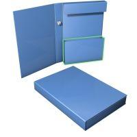 Ordnerbox mit Kartontasche und Inhaltsstopperlasche