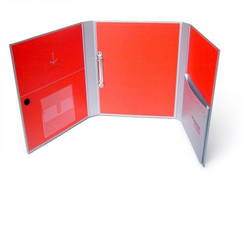Ordnerbox mit großen Seitenklappen und innenliegender Kartontasche, offen