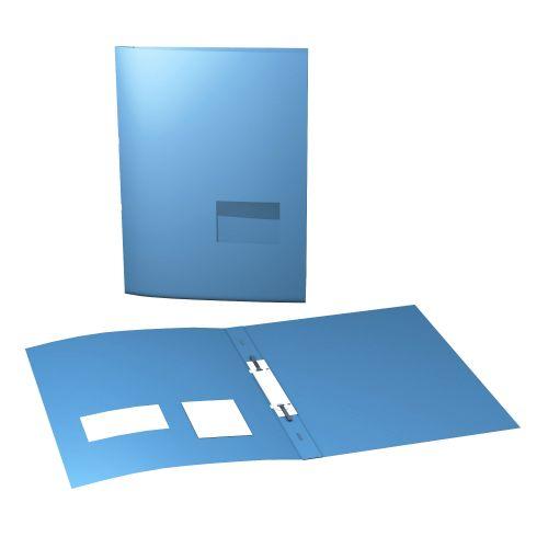 Präsentationsmappe mit einem Stanzfenster und Mappenabheftvorrichtung