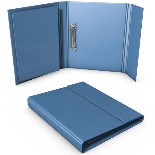 offene Ordnerbox mit eingeklebten Prospekt, Klappseite mit Magnetverschluss oben
