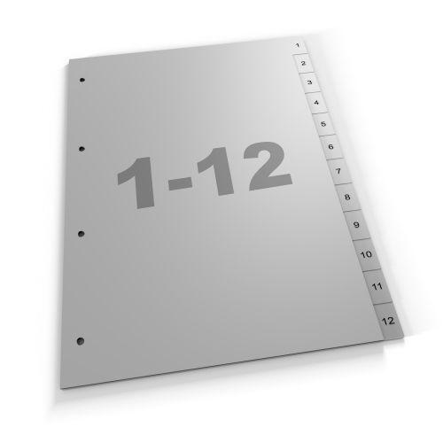 Standard Register 1-12, A4, grau oder weiß, Polypropylen (412 Za Eu)