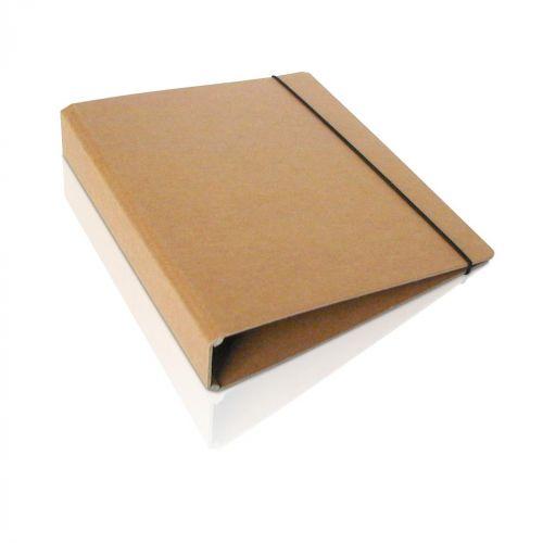 A4 Ringordner aus Naturpappe mit Kraftpapier und Gummizug