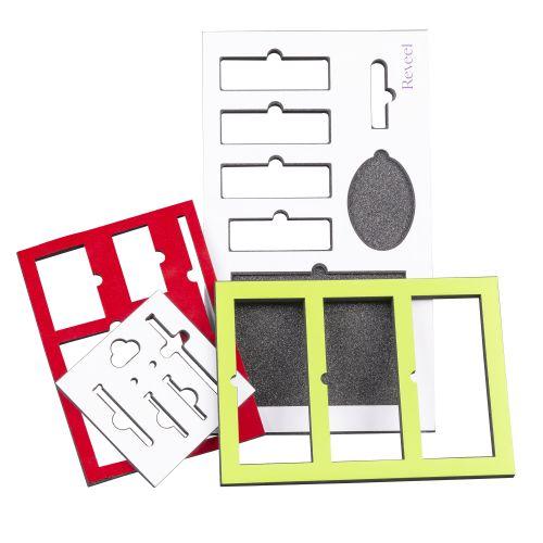 Schaumeinlagen mit Druckbogen,Folie,Bezugstoff oder Samt