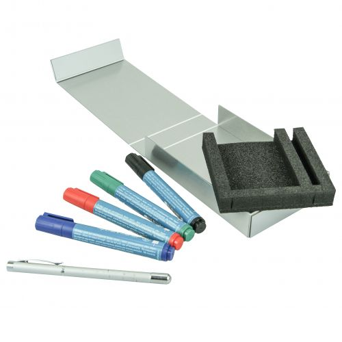 Metallverpackung, mit Magnetverschluß und Schaumeinlage