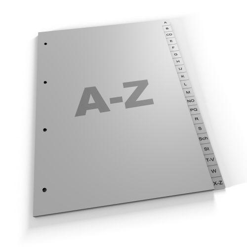 Register A-Z, A4, grau oder weiß, Polypropylen (420 vH Eu)