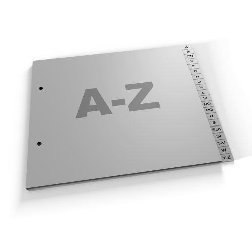 Register A-Z, halbe Höhe 180mm, A4, grau oder weiß, Polypropylen (420 hH Eu)