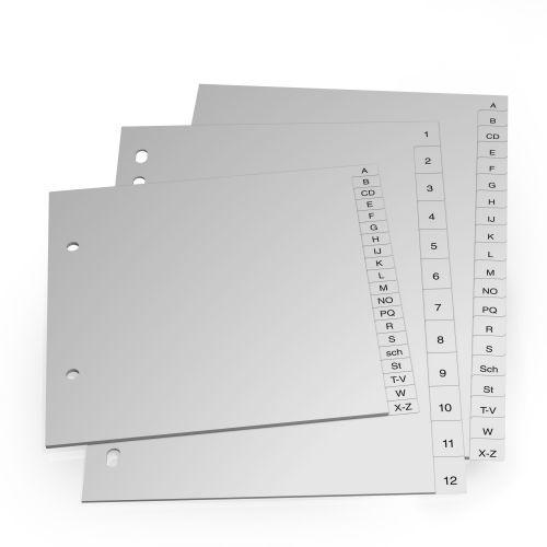 Standardregister Hartfolie grau oder weiß, A4