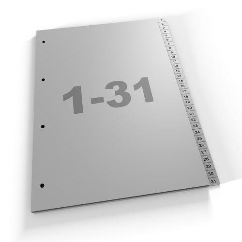 Register 1-31, A4, grau oder weiß, Polypropylen (431 Za Eu)